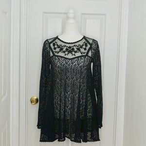 FREE PEOPLE Black Sheer Lace/Mesh Blouse (Size XS)